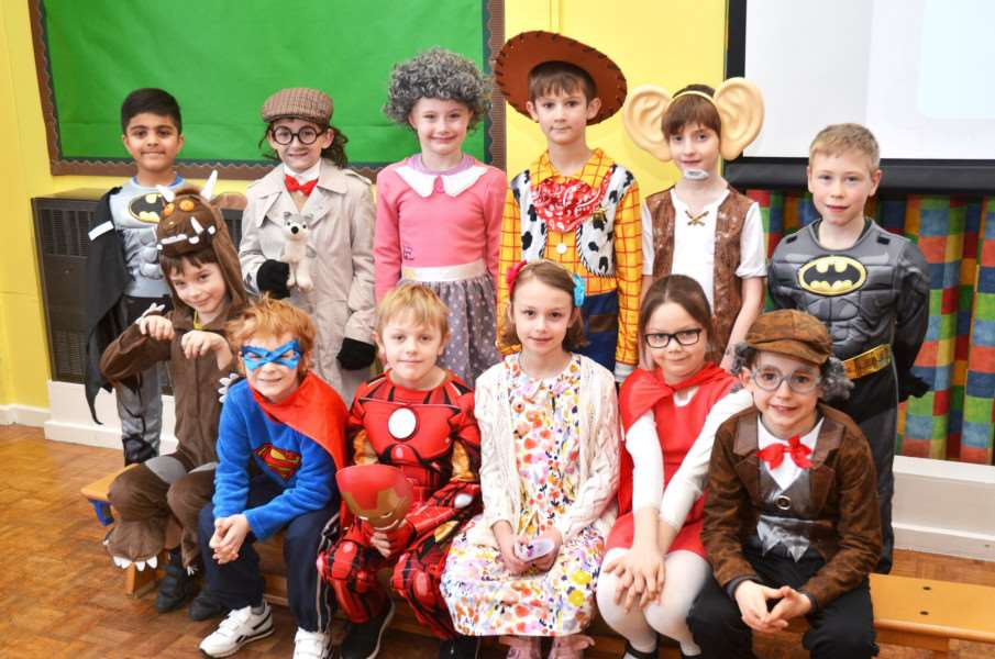 Some of the super characters celebrating World Book Day at Sutton St James Primary School