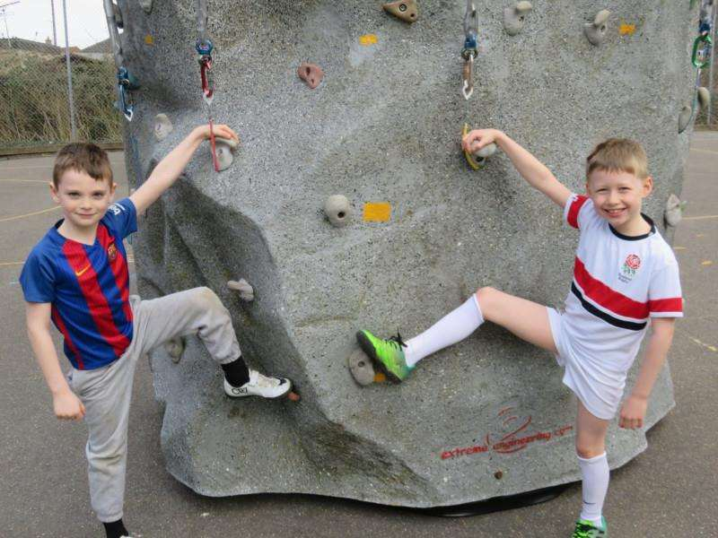 Youngsters at Sutton St James Community Primary School on the climbing wall.