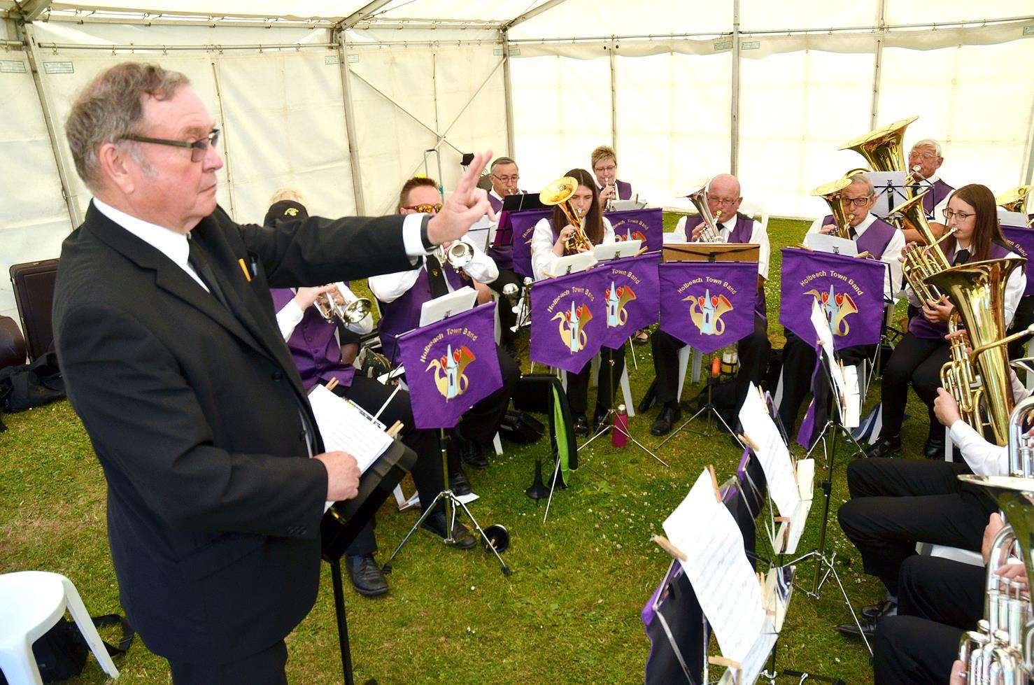 Musical director Mel Hopkin with Holbeach Town Band. (300618-15)