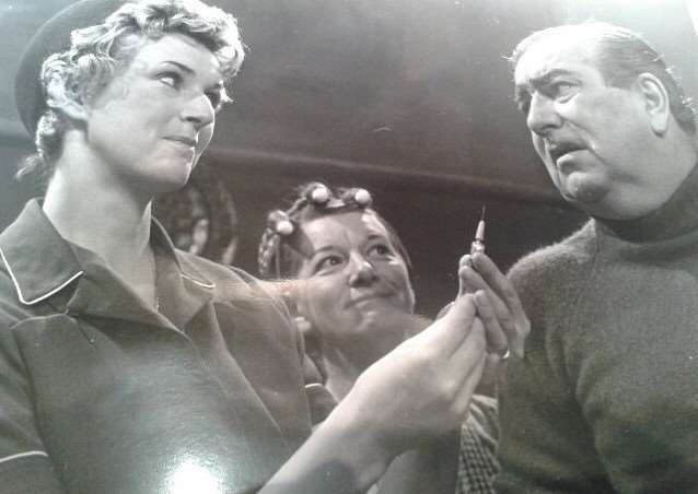 Abby Johnson as Nurse Kaye in Coronation Street, with Hilda and Stan Ogden.