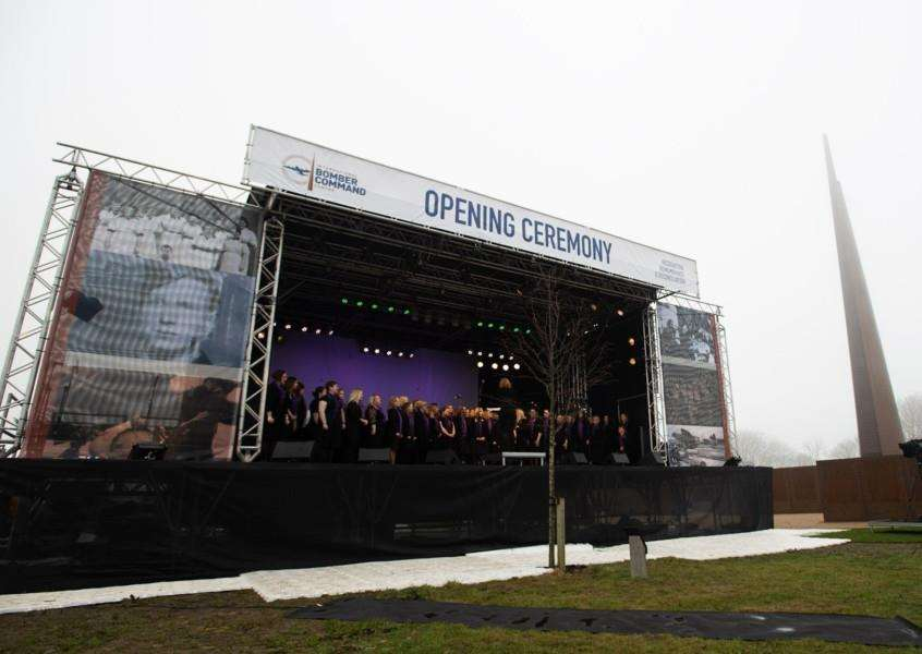 BOMBER COMMEMORATION: The Military Wives Choir performs during the official opening of International Bomber Command Centre (IBCC), Canwick Hill, Lincoln, a project inspired by Tony Worth CVO, of Holbeach Hurn and former Lord Lieutenant of Lincolnshire. Photo by Phil Crow/IBCC.