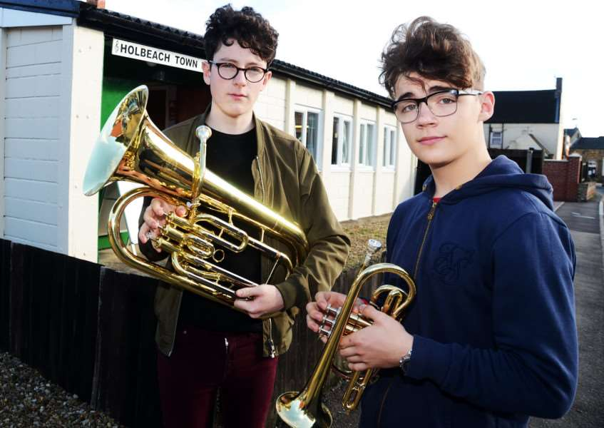 Trumpet players Jimmy Hammond and Corey Genovese outside Holbeach Band Hall. Photo by Tim Wilson. SG141017-202TW.
