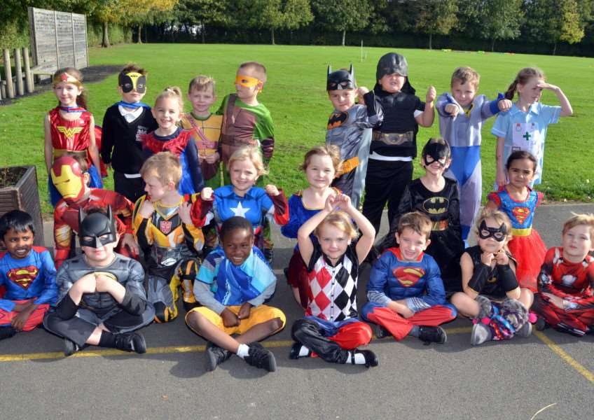 Ash Class in their superhero costumes at Holbeach Primary Academy. Photo: SG121017-122TW