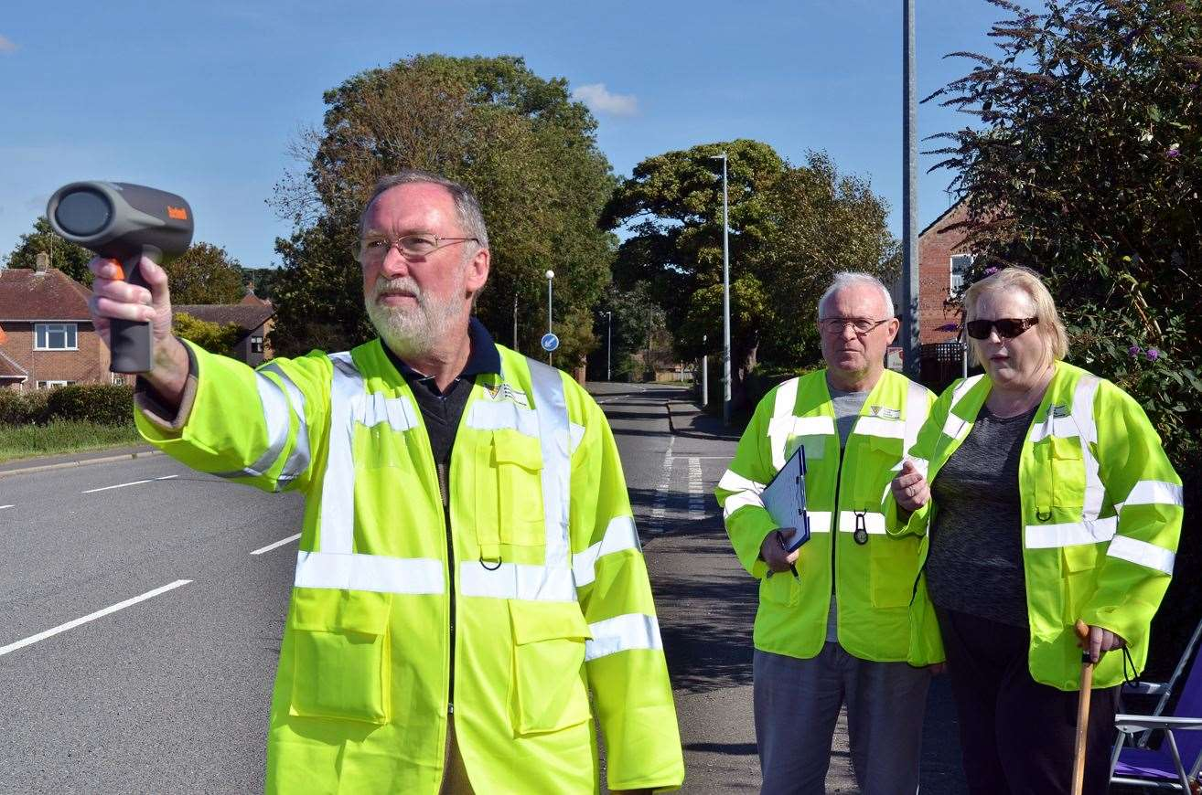 Mike Harris (with speed gun), Chris Dicks and Jane Hickford of Weston/Weston Hills Community Speed Watch.
