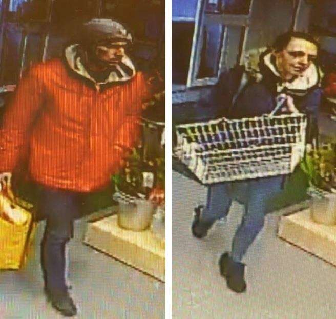 Police want to speak to this man and woman in connection with the theft of meat and wine from a shop in Crowland. Images supplied by Lincolnshire Police. (6465518)