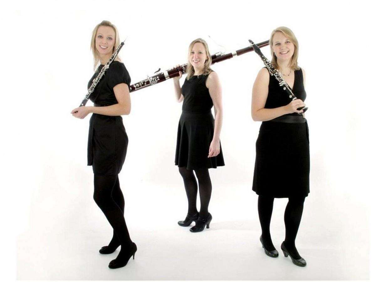 The Marylebone Trio are Jemma Bausor (oboe), Alexandra Davidson (bassoon) and Helen James (clarinet). Photo by Michael Clement.