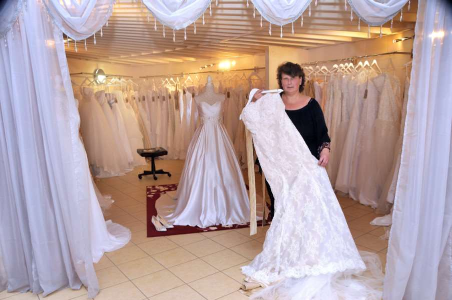 Julie Kirby in her new wedding dress shop