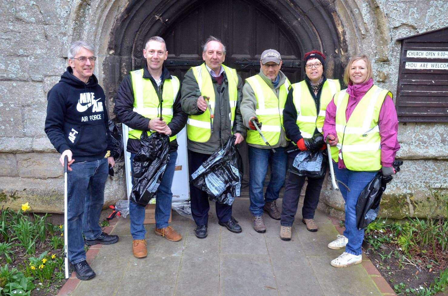 Jim Scarsbrook, Couns Andrew Woolf and Anthony Casson, Nigel Baker, Mandy Baker and Wendy Woolf outside Moulton's All Saints Church before a clean-up of the village in February.Photo (TIM WILSON): SG-230219-010TW