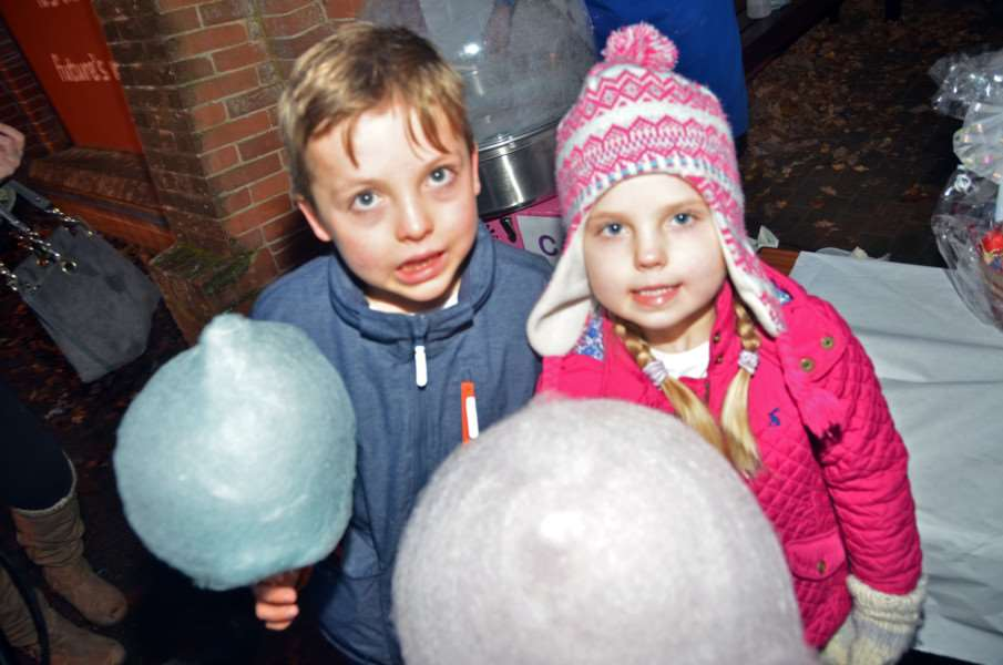 Laddies candy floss for Leo and Eva Thorpe at Friends' of William Stukeley Primary School Christmas Fayre.
