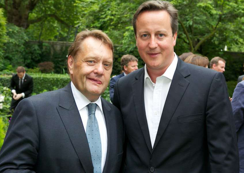 MP John Hayes with then Prime Minister David Cameron in the garden at 10 Downing Street.