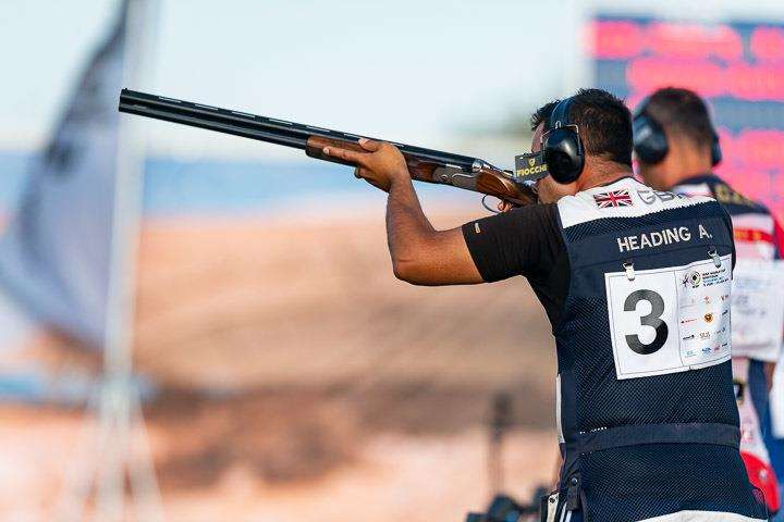 Gold medalist Aaron Heading competes in the trap men final at the ISSF World Cup last month