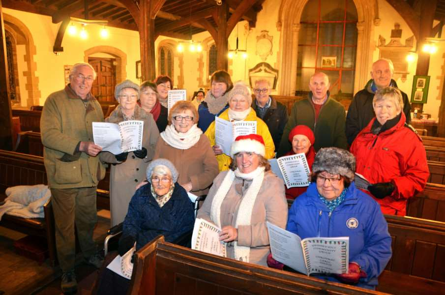 Holy Trinity Church, Gedney Hill, Christmas carol service - 'Carollers ready for service.