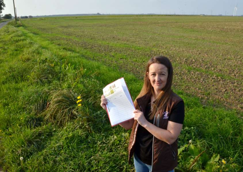 Lizie Almond with her petition to change the converter station plans. SG260917-215TW