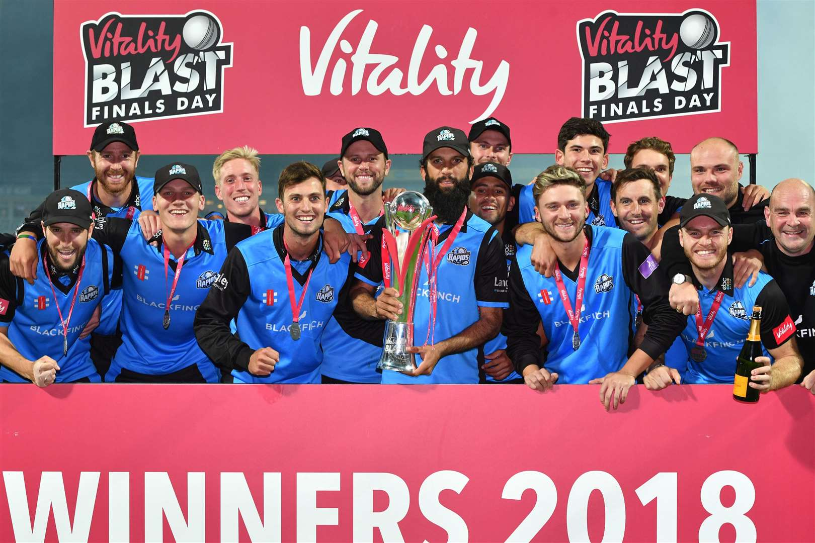 Worcestershire Rapids celebrate as Moeen Ali lifts the trophy