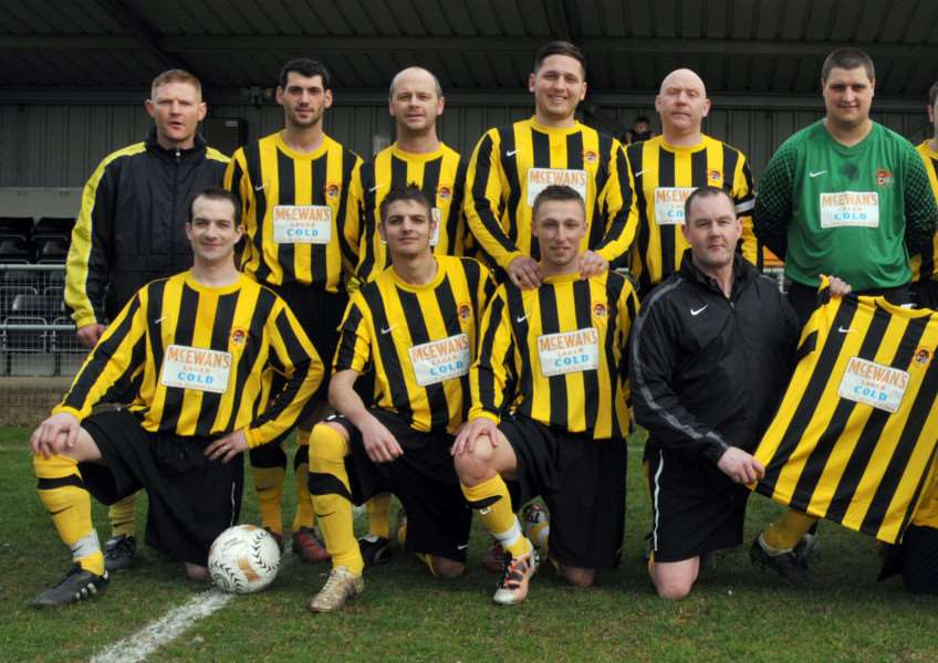 Joe McKeown (front right) with some of the players, including Adam Kirk (back right), who he managed in the Holbeach United Reserves team at Carter's Park. Photo: SG100312-230NG.