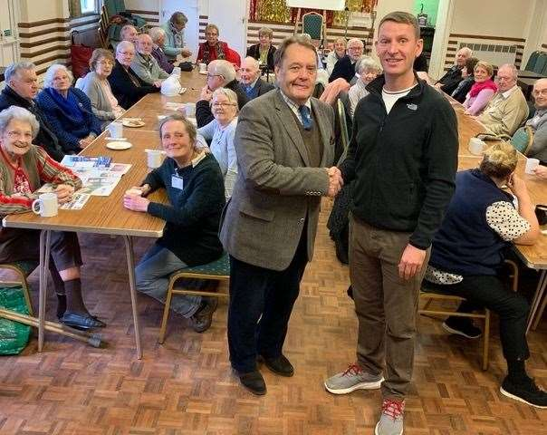 Sir John Hayes and Peter Lunt meet at the Long Sutton Outreach meeting.
