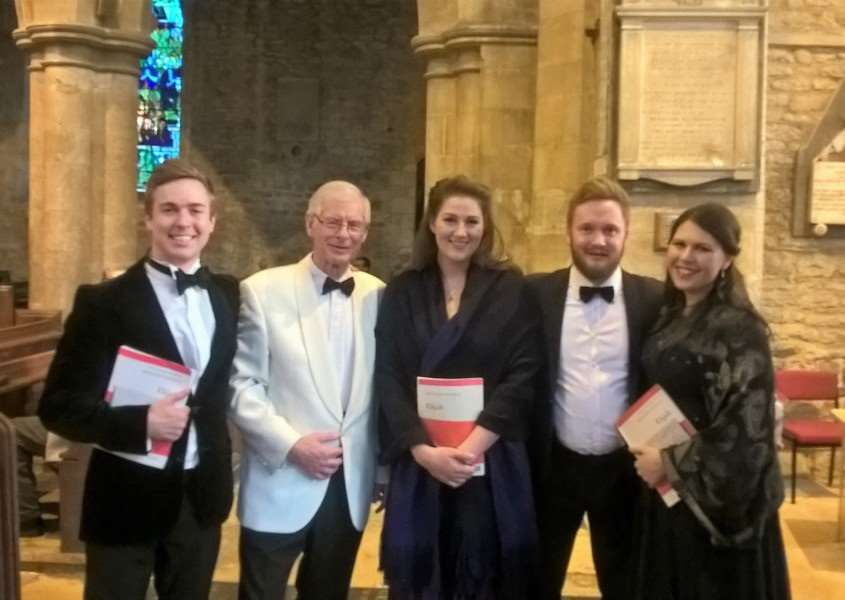Alexander Aldren (Tenor), Robin Carter (Musical Director), Hannah Poulson (Alto), James Geidt Bass/Baritone and Carrie-Ann Williams (Soprano) at 'Elijah' concert in May 2017.