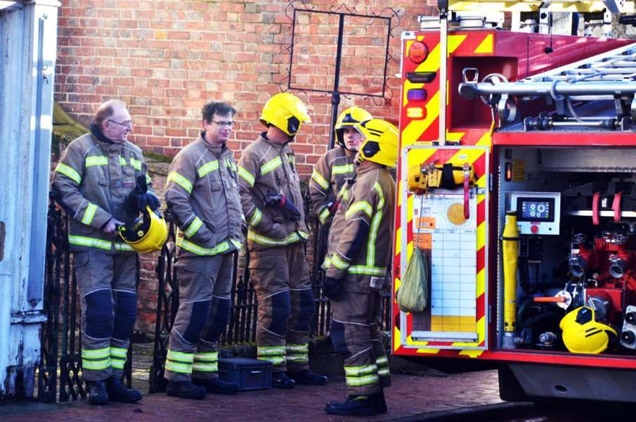 Firefighters dealing with the chemical leak this morning. SG141217-101TW