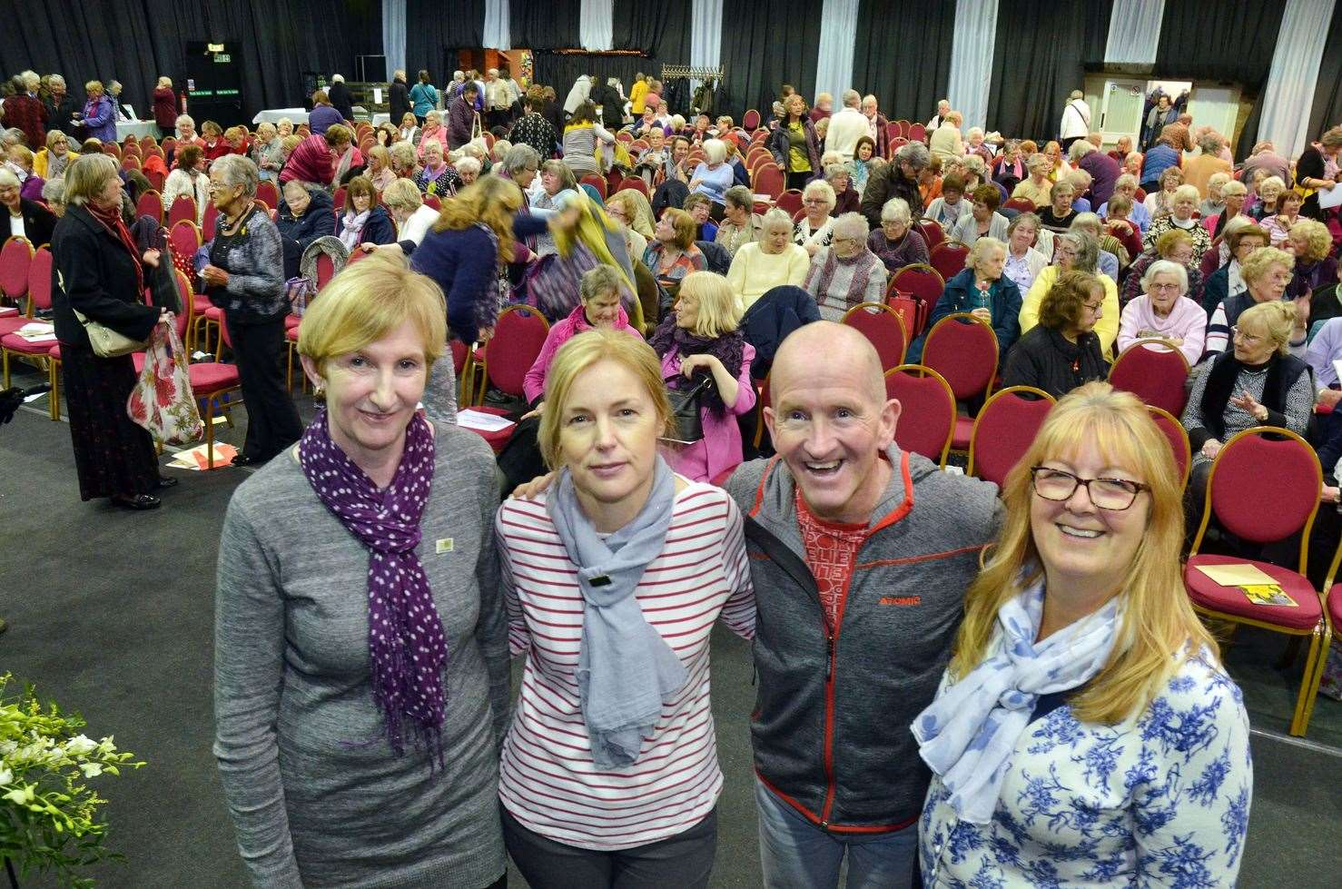 "Eddie ""The Eagle"" Edwards with Holbeach WI members: president Carol Wilson, treasurer Lynda Padoan and secretary Jackie Maton. (120319-6)"