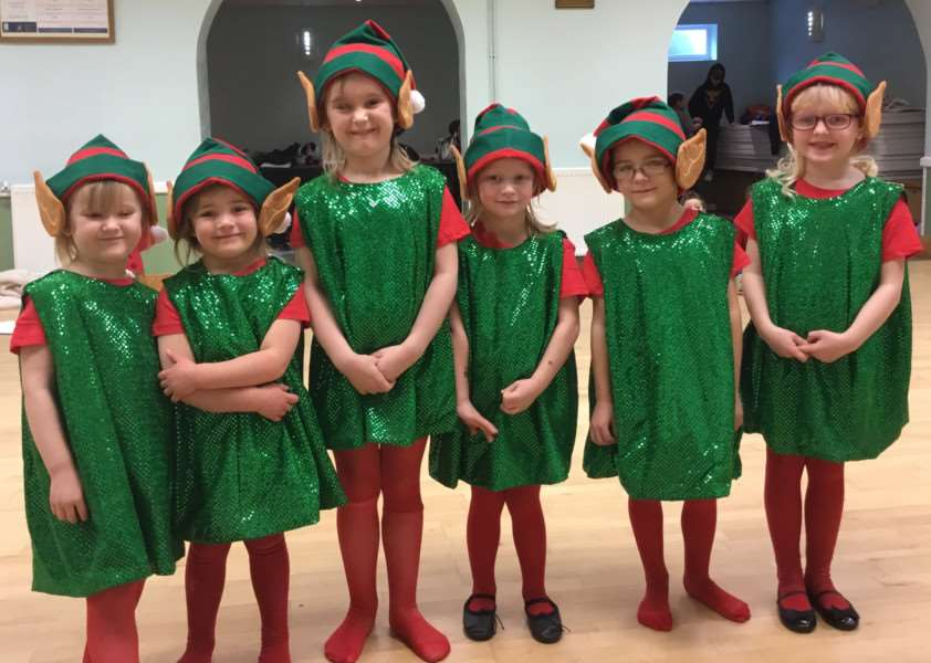 The 'National Elf Service'. Children perform in the Hurst Children's Theatre Group's production of Snow White.