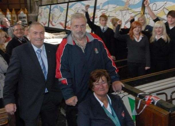 Stuart Storey with Geoff Capes and Sally Reddin at University Academy Holbeach where commemorative mosaics were unveiled to mark the London 2012 Olympics. Photo by Tim Wilson.SG040712-244TW.