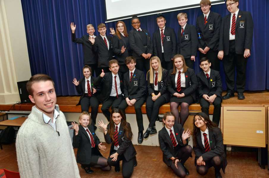 Former student Matt Mortimer with Year 10s at Spalding Academy