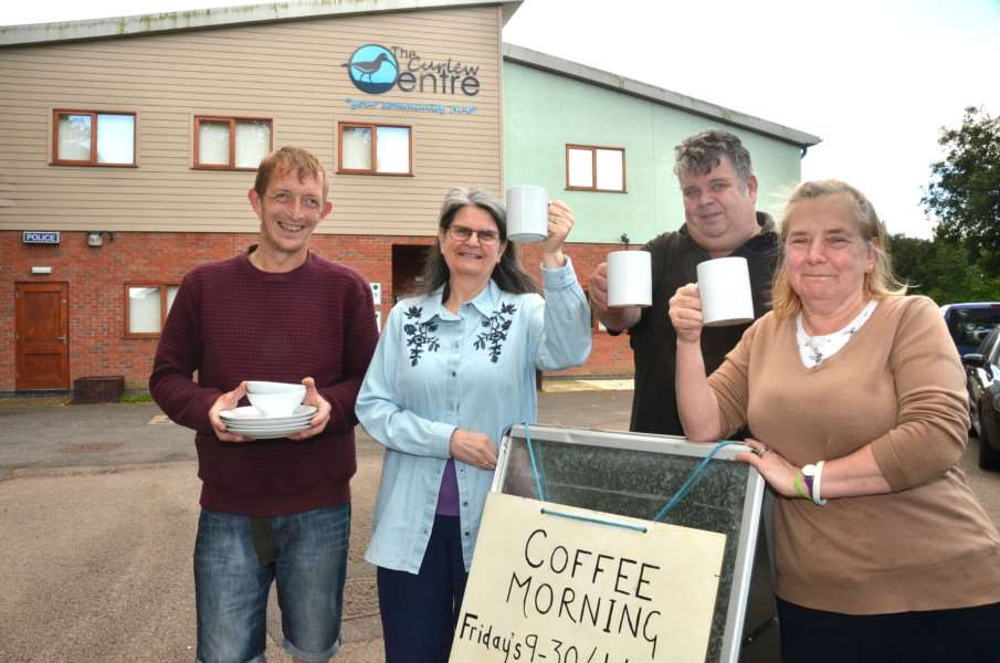 Relaunch of Curlew Coffee Morning Gavin Ebbs, Carole English, Mick Flindall, Wendy Thrower