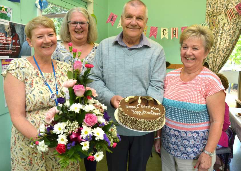ANNIVERSARY EVENT: Spalding-based Happy Breathers Group celebrates its first birthday with a party at the Ivo Day Centre with facilitator 'Suzanne Willis, Lynn Harlow, David Urry and Pat Fitch. Photo by Tim Wilson. SG310817-101TW.