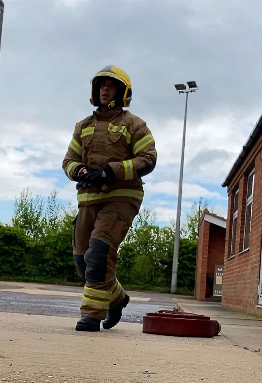 Harry Drury in training as an on-call fire fighter. (37327357)