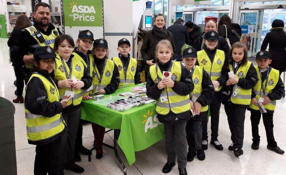 Mini-Police from Boston's Staniland Academy at Asda in Wyberton. Photo supplied by Lincolnshire Police. (3021411)