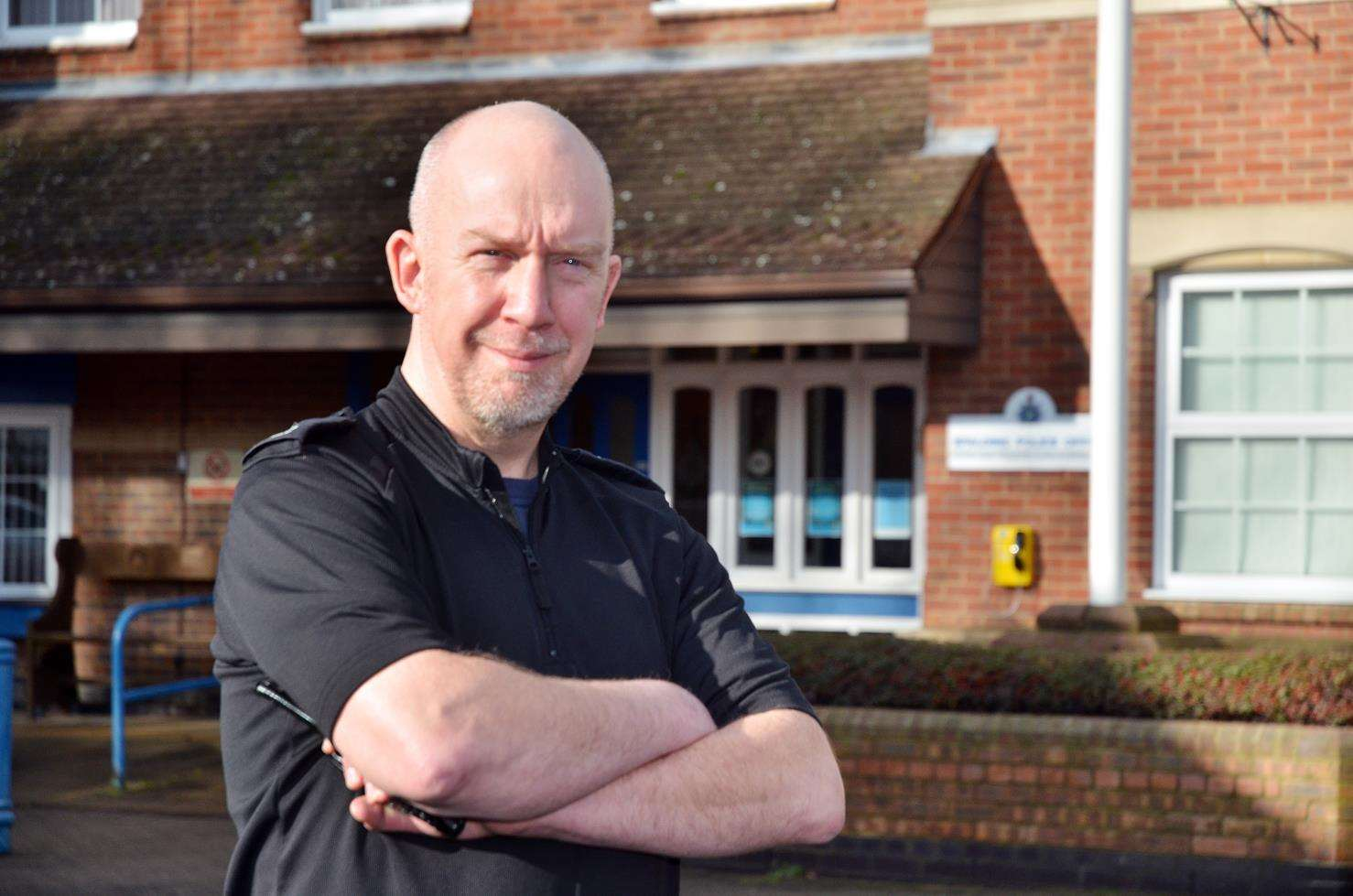 New Spalding community policing sergeant Rick Mosley outside the town's police station. Photo (TIM WILSON): SG-040219-030TW