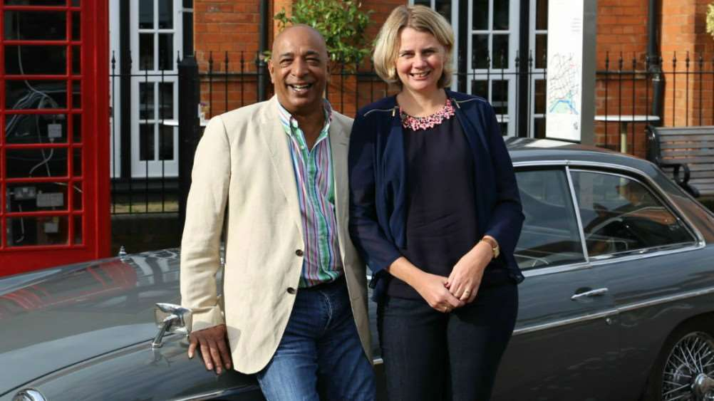 Raj Bisram and Catherine Southon filming for BBC 1's Antiques Road Trip.