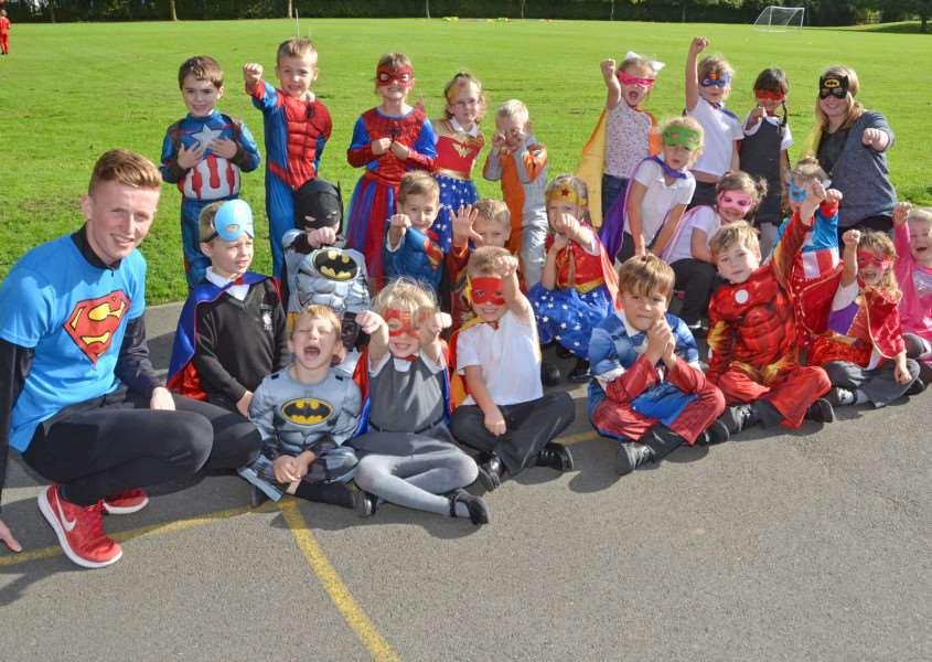 Elm Class in their superhero costumes. Photo: SG121017-123TW