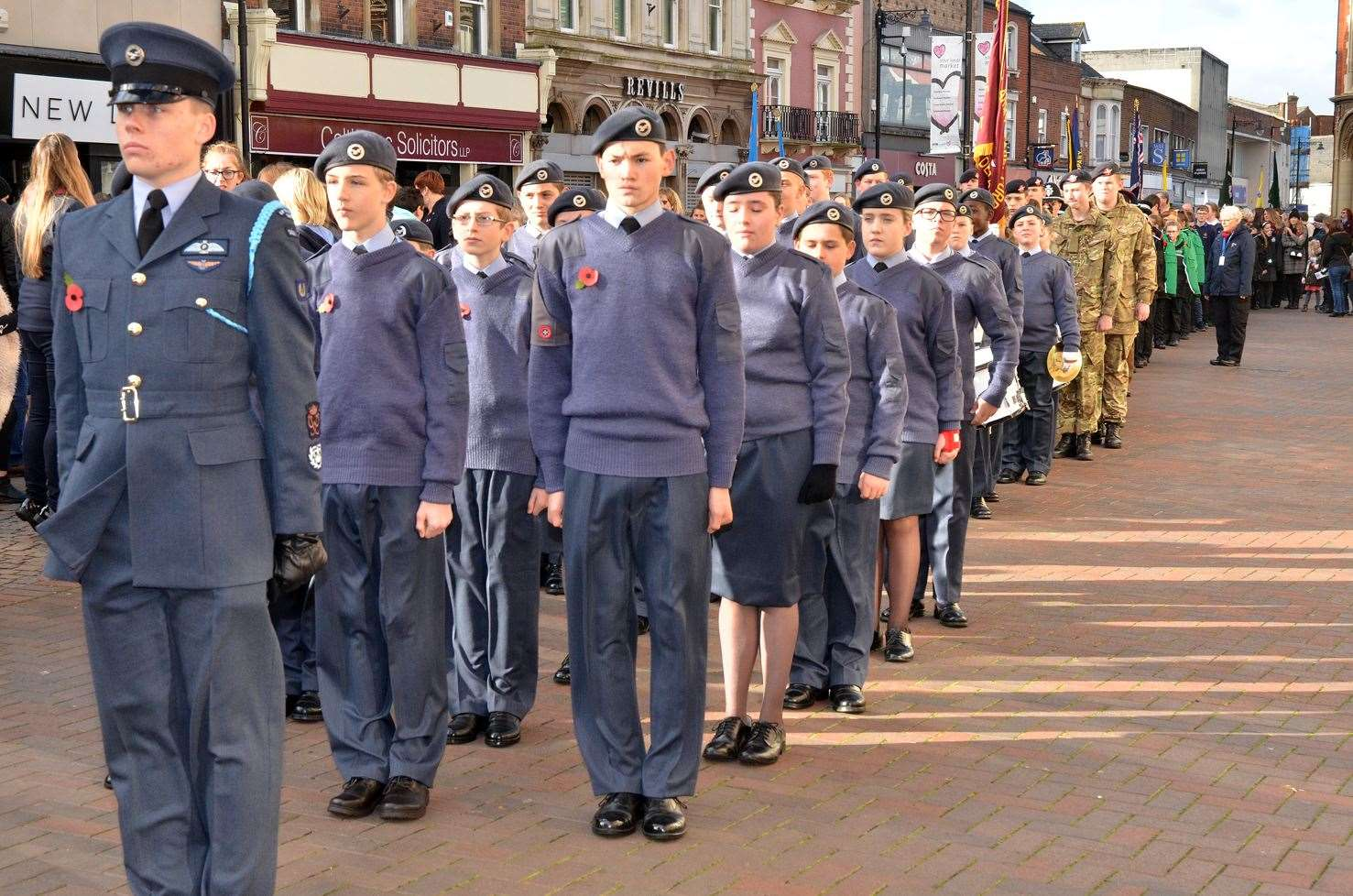 Air cadets at Spalding's 2018 Remembrance Sunday Parade