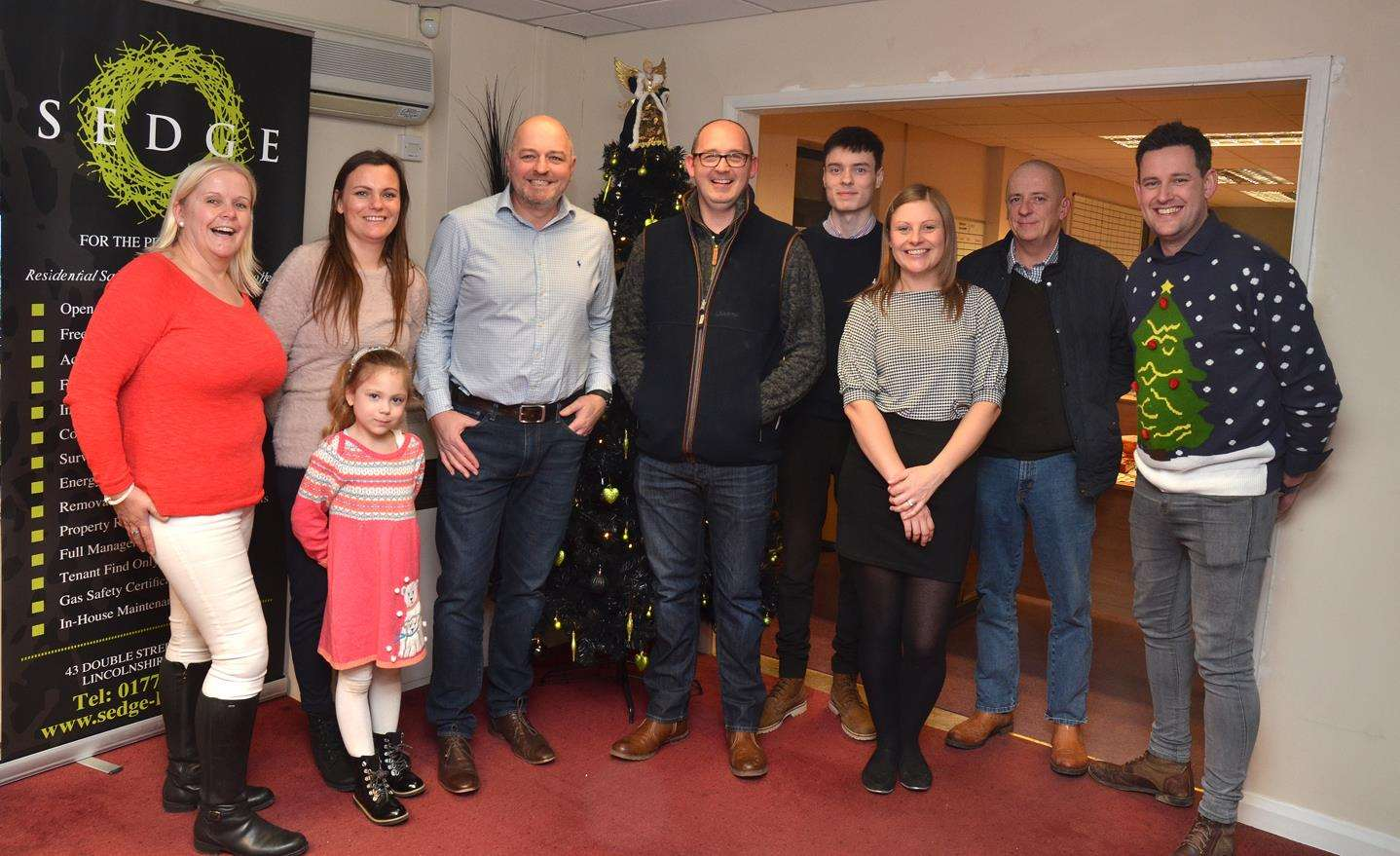 Christmas drinks and buffet at Sedge Homes with Debbie White, Dorota and Lena Debska, Pete Coupland, vendor Rob Fielding, Rhys Brasier, Amy Coxon, Lanice Bush of A Plumber On Tap Ltd and sales director Scott Walker.