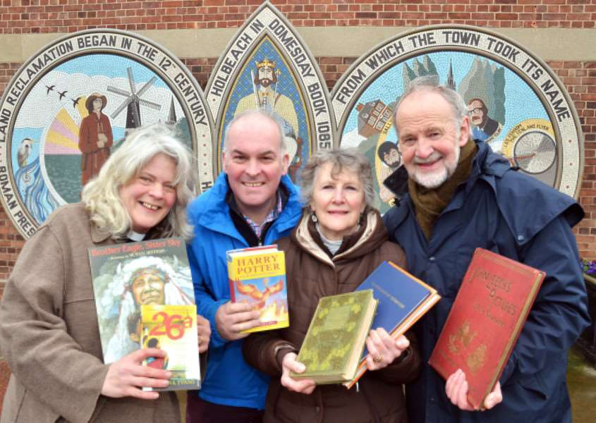 NEW BOOKSHOP: The Rev Kate Plant, Charles Baker, Carolyn and Brian Boardman. Photo (TIM WILSON): SG120318-107TW.