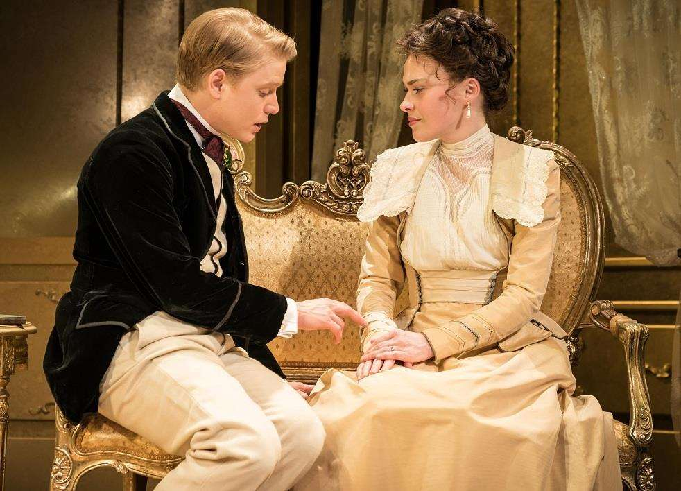 Freddie Fox (Lord Goring) and Sally Bretton (Lady Gertrude Chiltern), in Oscar Wilde's An Ideal Husband, directed by Jonathan Church. Photo by Neil Gavin. (2406857)