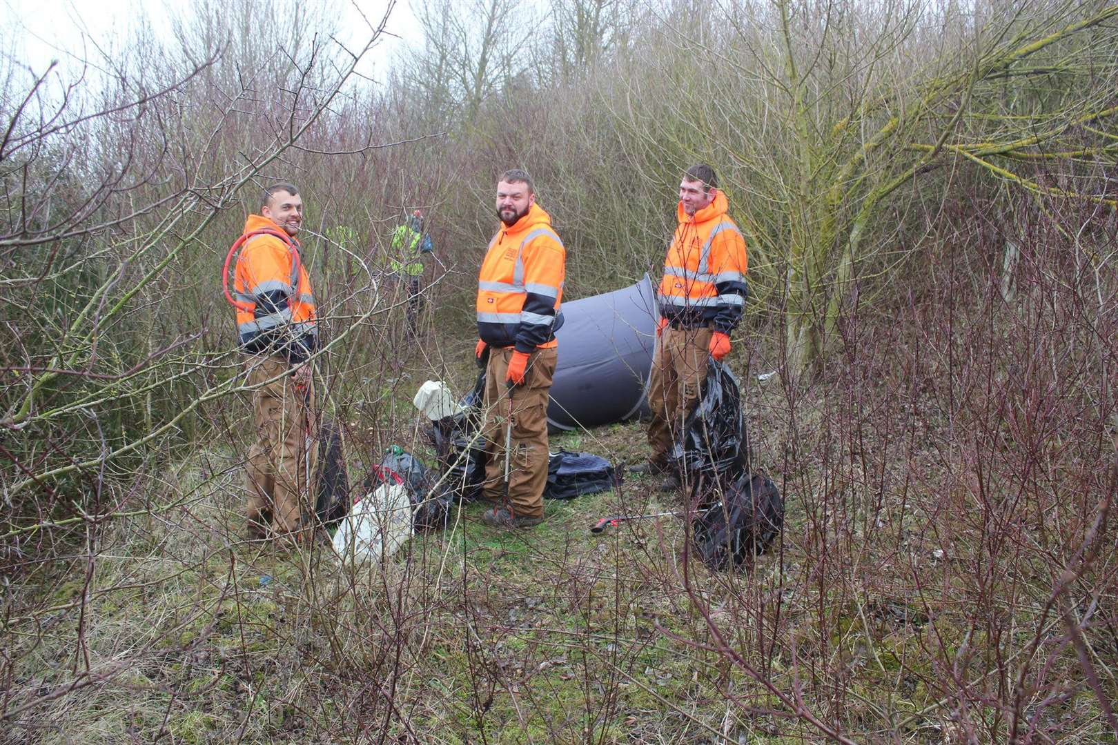 Team from Hollyoak Landscaping cleaning up disgarded litter on Stumps Lane, Spalding on Saturday (image provided by Flytipping Watch) (7412037)
