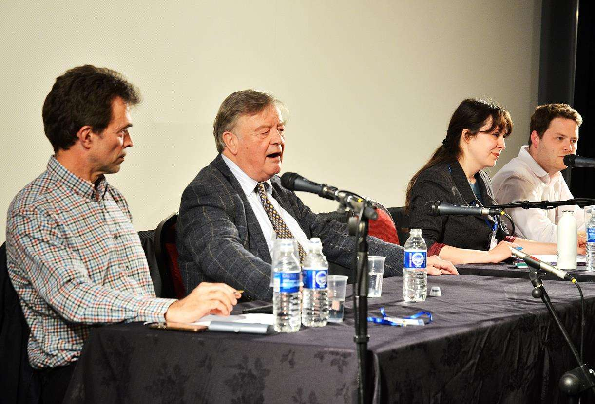 Kenneth Clarke MP speaks at Spalding's South Holland Centre during a Brexit discussion, with fellow panellists (from left) Tom Brake, Ken Clarke, Amelia Womack, James Torrance.Photo by Tim Wilson.SG250518-105TW. (2241126)