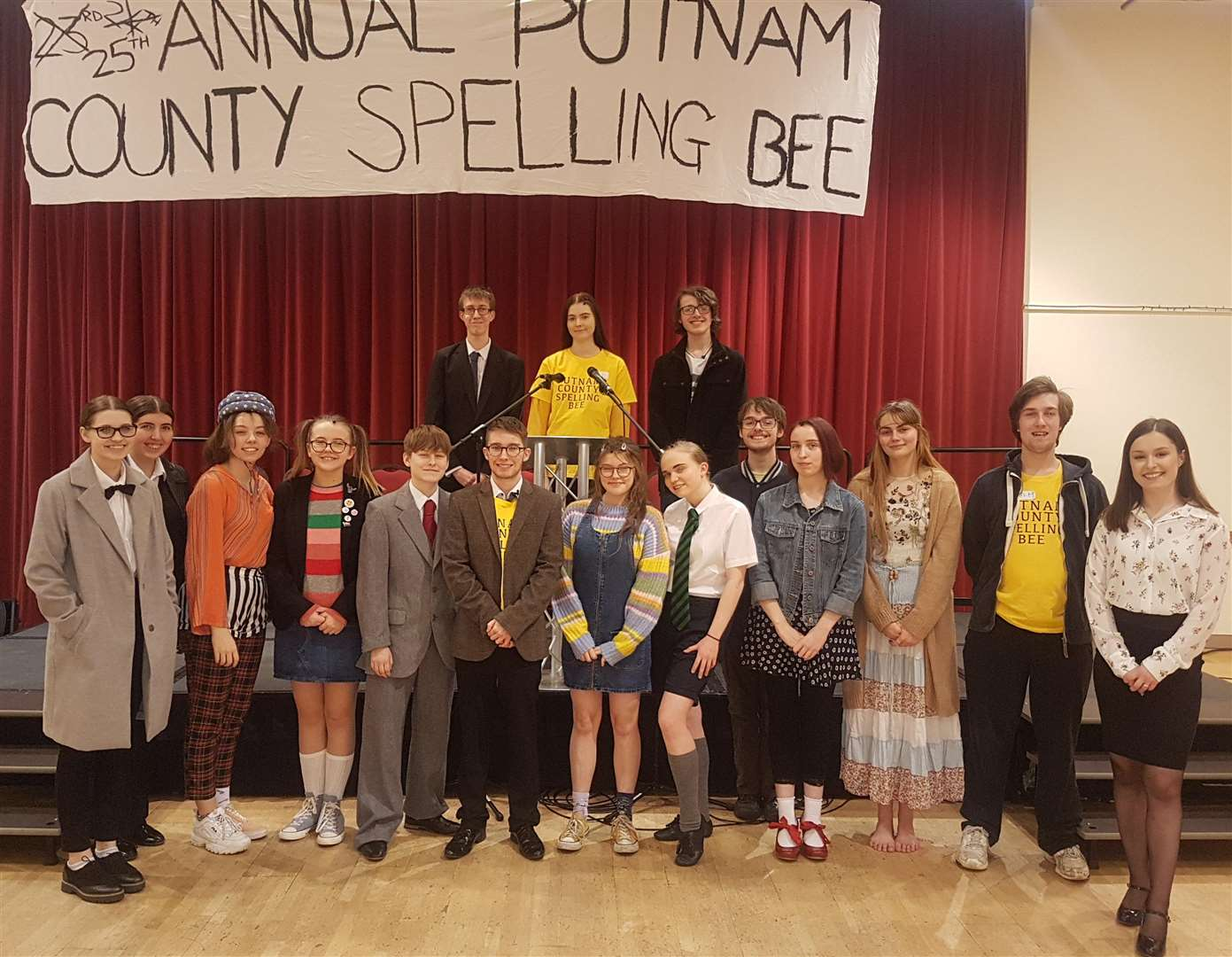 The cast of Act II's musical, The 25th Annual Putnam County Spelling Bee, at South Holland Centre, Spalding. Photo by Karl Gernert. (7226162)