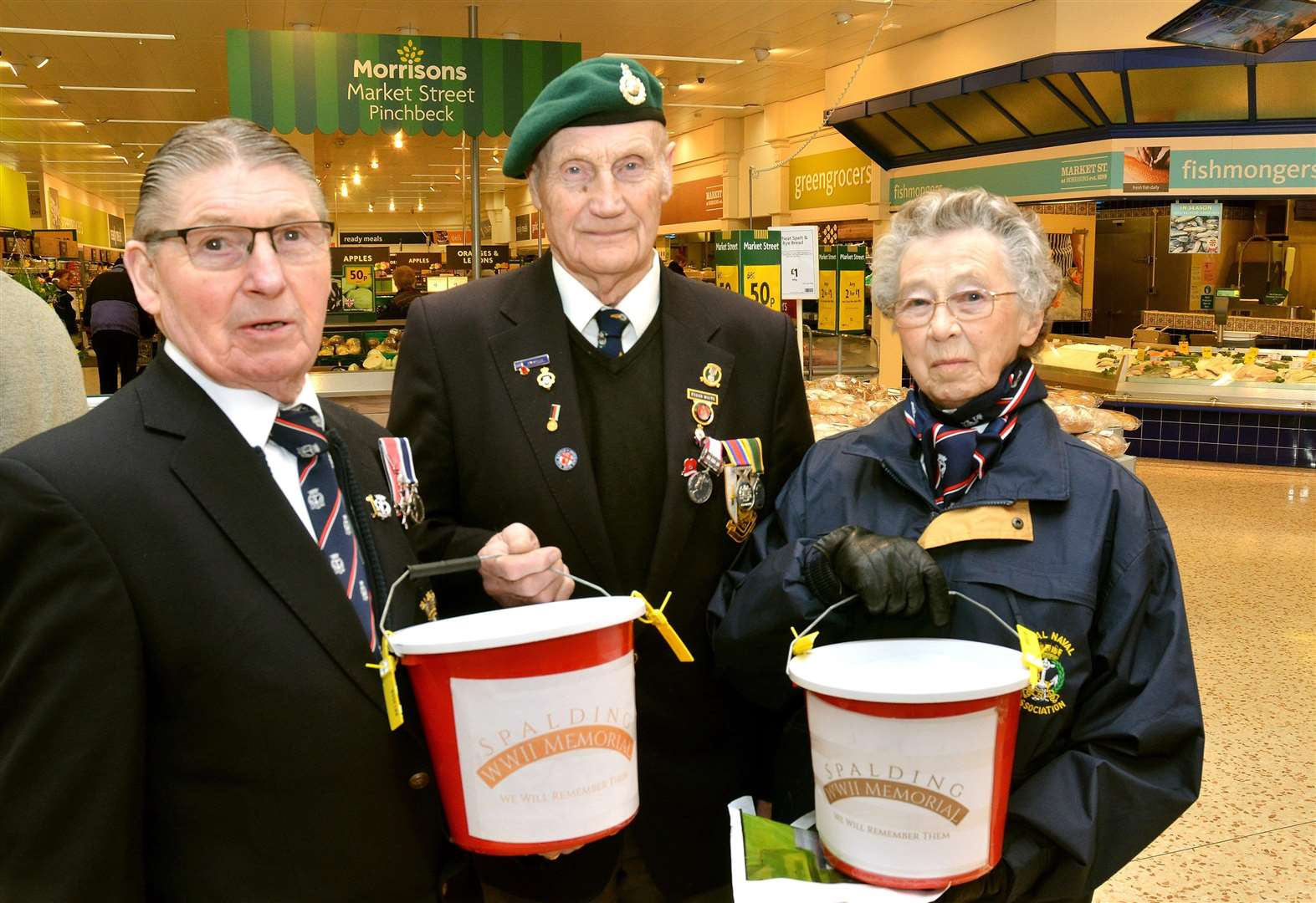 Frank White (centre) pictured with Keith and Yvonne Crawford at a recent collection in Morrison's for the WWII Memorial. (SG260118-102TW) (1996163)