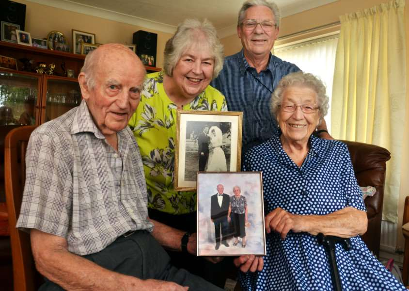 Margaret and Aubrey Earth have celebrated their golden wedding and Margaret's parents Doris and Jack Watson have just celebrated their platinum (70) wedding in Holbeach. Margaret is holding wedding pic, Doris a cruise photo