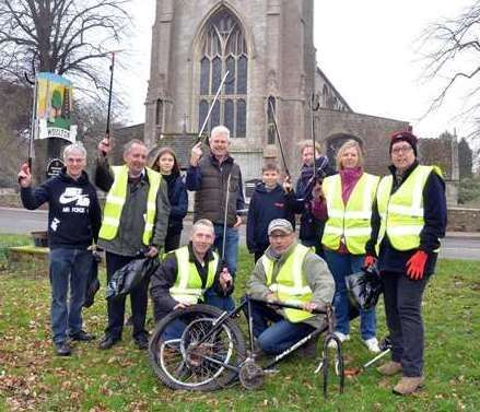 Volunteers on a clean-up of Moulton in February 2019.Photo by TIm Wilson.SG-230219-012TW (16205150)