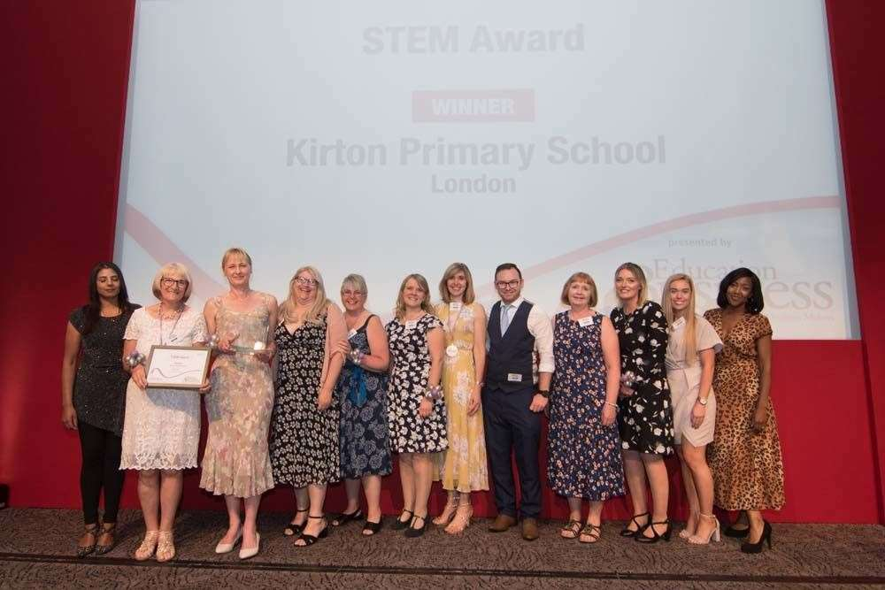 Executive head teacher Nicky Donley (third left) and staff from Kirton Primary School, at the Education Business Awards where it won the STEM (Science, Technology, Engineering and Maths) Award.Photo supplied.