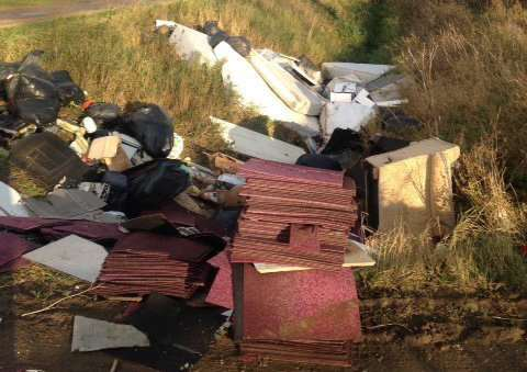 Household items dumped in a ditch in Crowland.