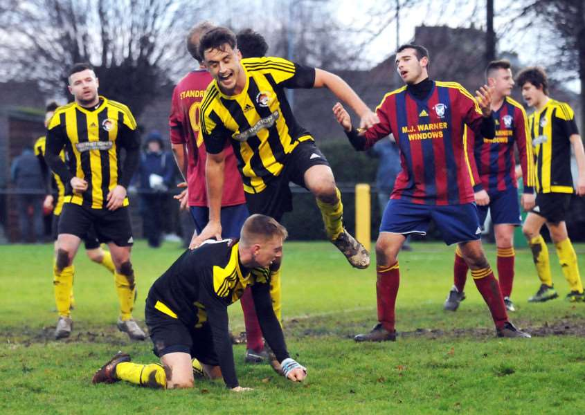 Joe Smith celebrates scoring at home to St Andrews in January