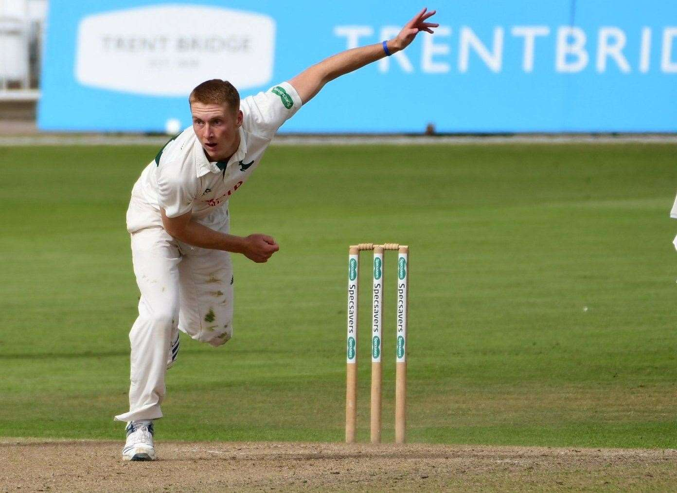 Joey Evison bowling on his first class debut for Nottinghamshire against Warwickshire at Trent Bridge in September 2019.Photo supplied by Notts CCC.(30936340)