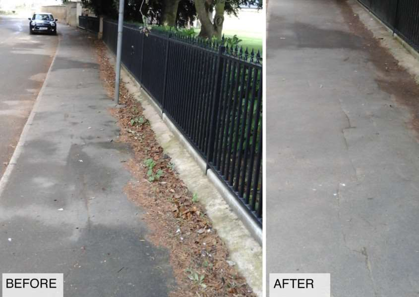 Towngate East in Market Deeping before and after The Big Clean. Photo provided by South Kesteven District Council.