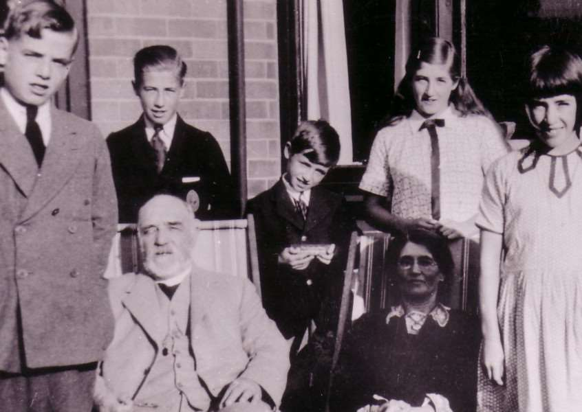 The Curtis family at Holbeach St Johns circa 1935 - Harold and Lillian at the front with (left to right) Colin, Hugh, Wilfrid, Joyce and Mary.