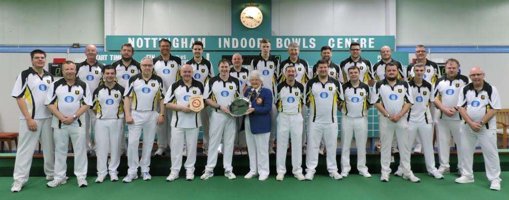 The winning Lincolnshire team with EIBA president Margaret Allen following the final against Kent at Nottingham on Sunday.